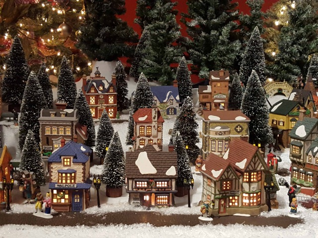 Miniature Dickens Themed Christmas Village Display At