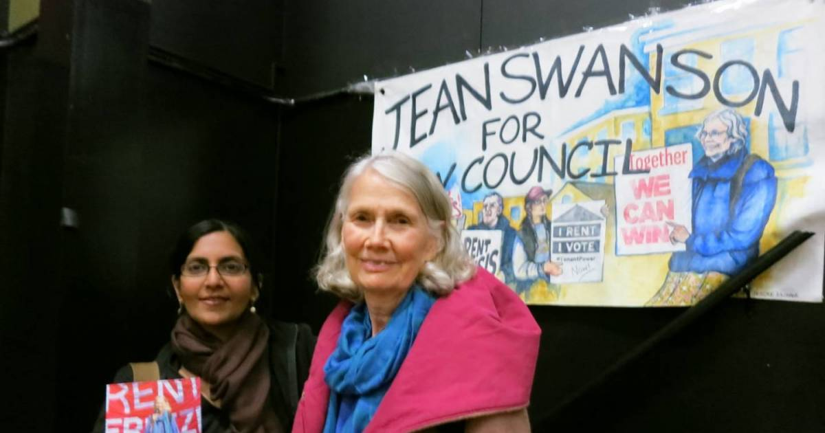 Jean Swanson shows a theatrical side in announcing her candidacy for Vancouver city council