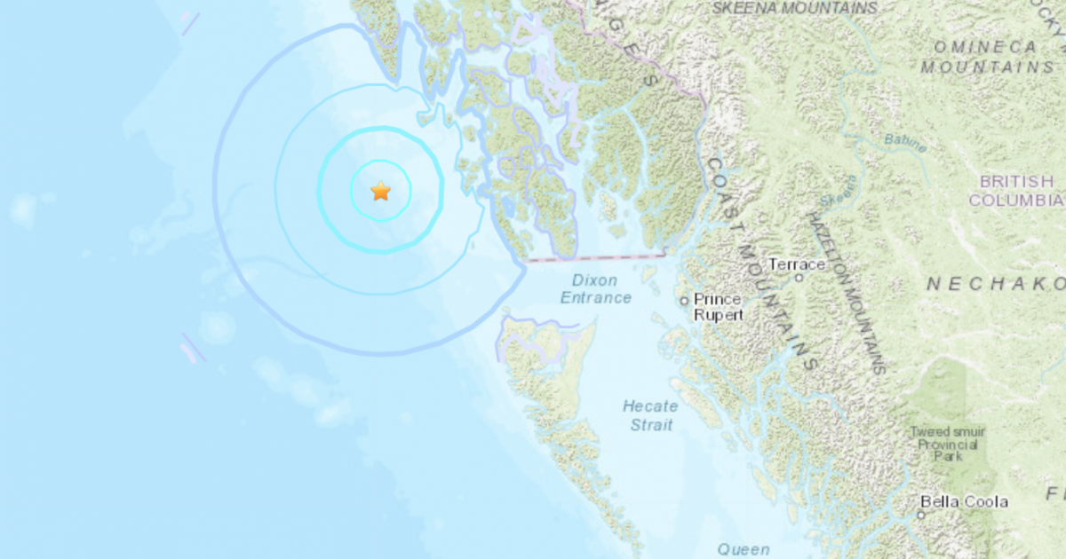 Numerous earthquakes hit offshore from Alaska Panhandle west of northern B.C.