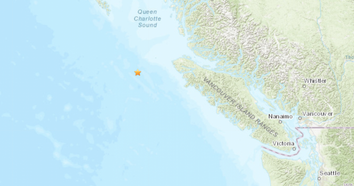 Light offshore earthquake occurs west of Northern Vancouver Island