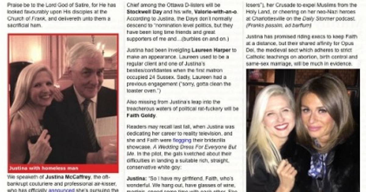 Is Andrew Scheer inept? Frank magazine highlighted Faith Goldy–Justina McCaffrey friendship just last year