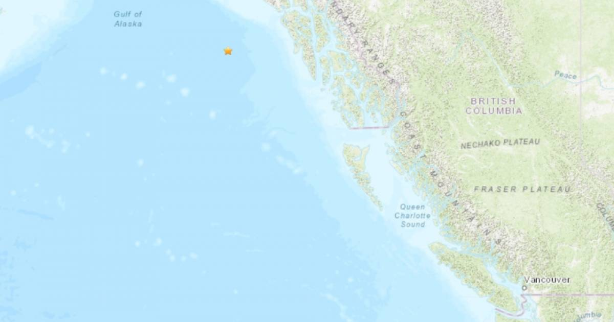 Two offshore quakes hit the Gulf of Alaska, west of northern B.C.