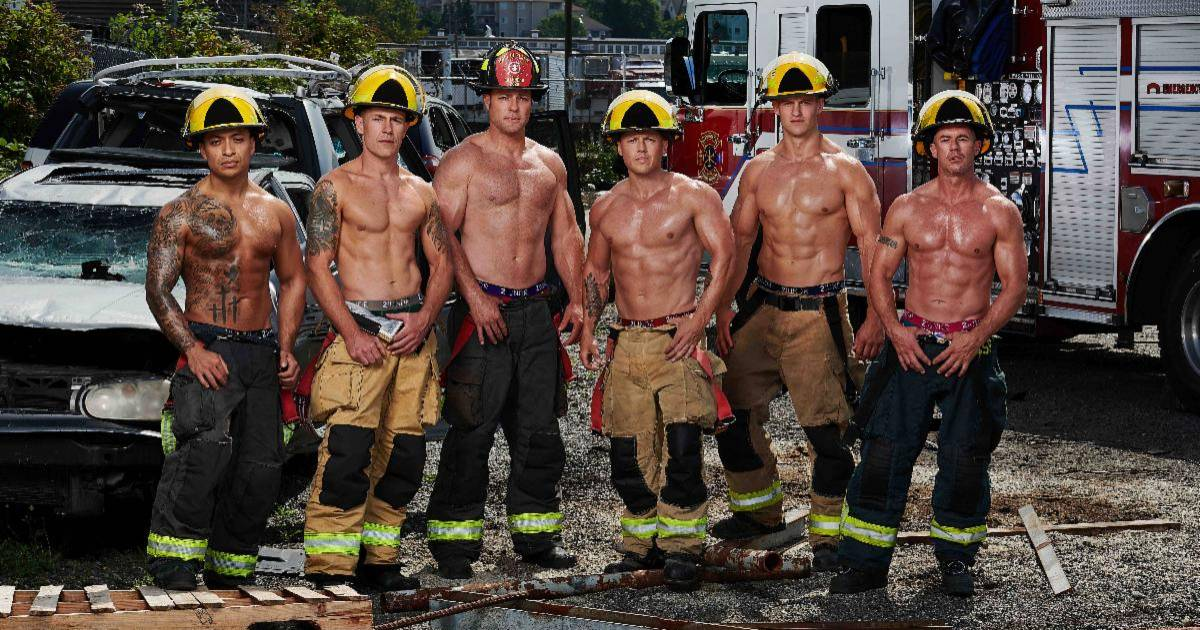 Vancouver firefighters strip for 2020 calendar and face off against police in hockey game for fundraising