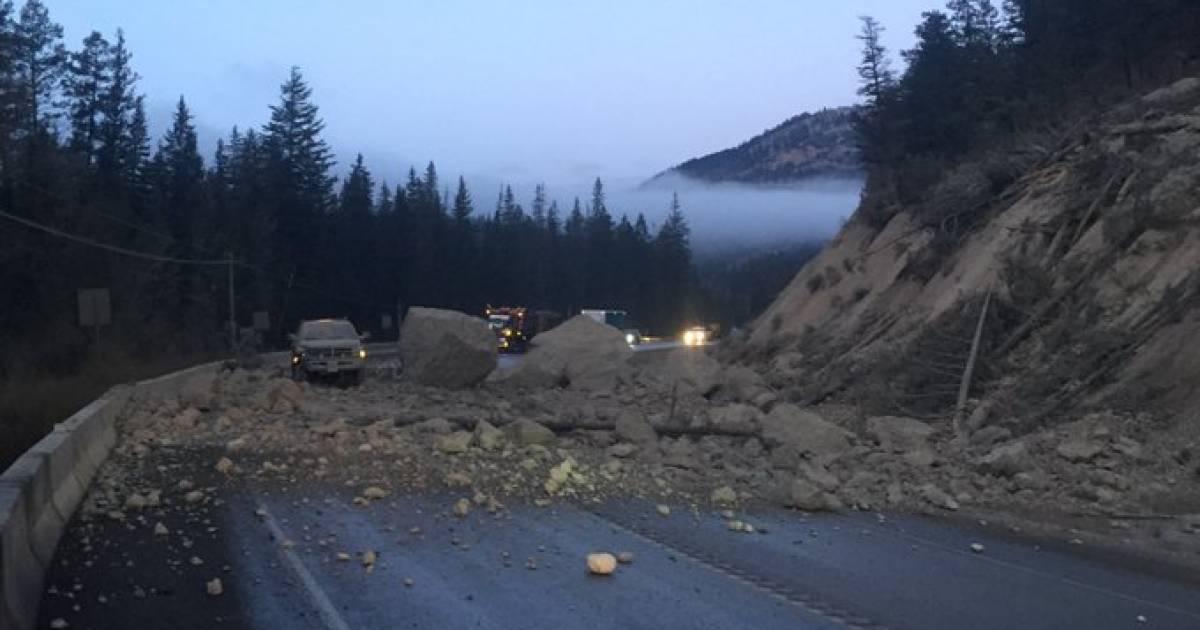 B.C. rockslide shuts down portion of Highway 93 near Fairmont Hot Springs