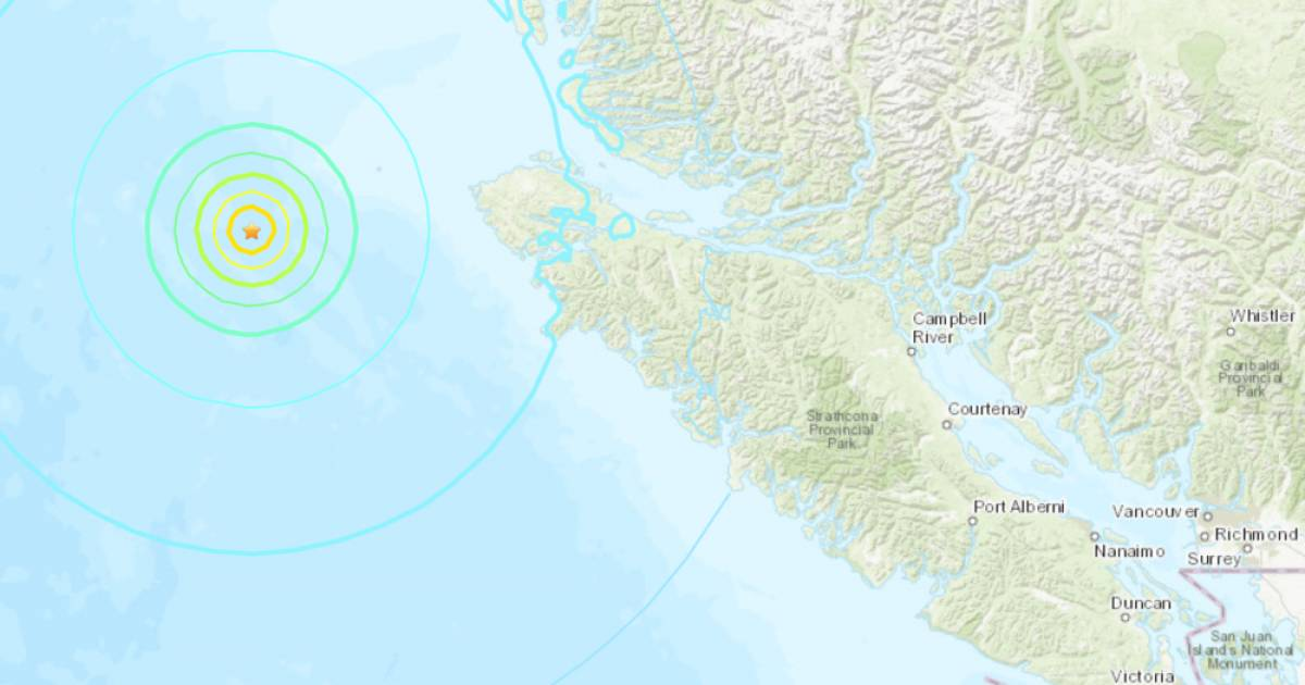 Magnitude 6.2 earthquake strikes on Christmas Eve near Vancouver Island after six B.C. seismic events on Monday