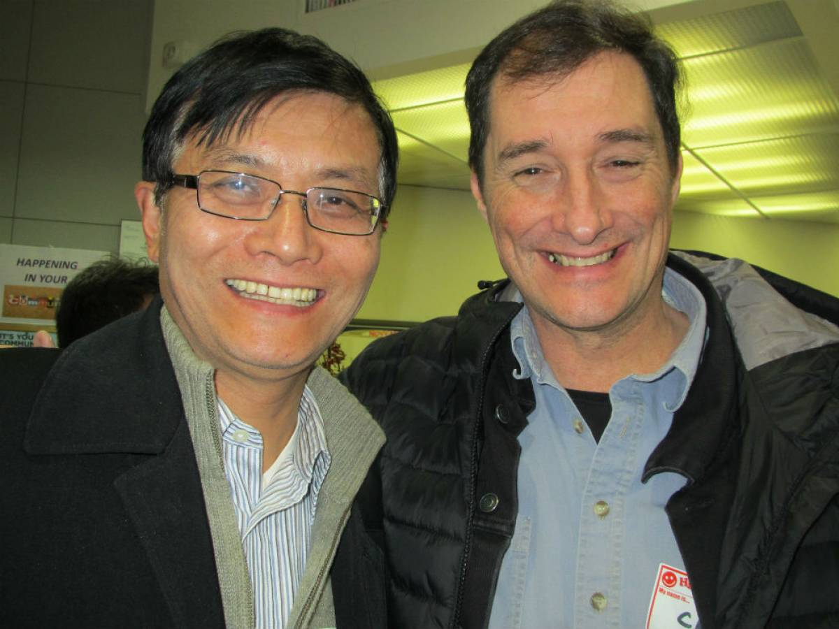 Writer Guo Ding (left) was photographed with <em>Georgia Straight</em> editor Charlie Smith at the 2013 literAsian festival.