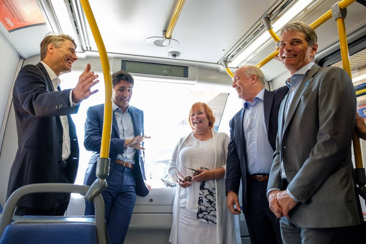 The funding deal for the Broadway Subway Project came together in September 2018, prompting the key decision makers (then Vancouver mayor Gregor Robertson, Justin Trudeau, then Surrey mayor Linda Hepner, Premier John Horgan, and TransLink CEO Kevin Desmond) to get on a transit vehicle for a photo-op.
