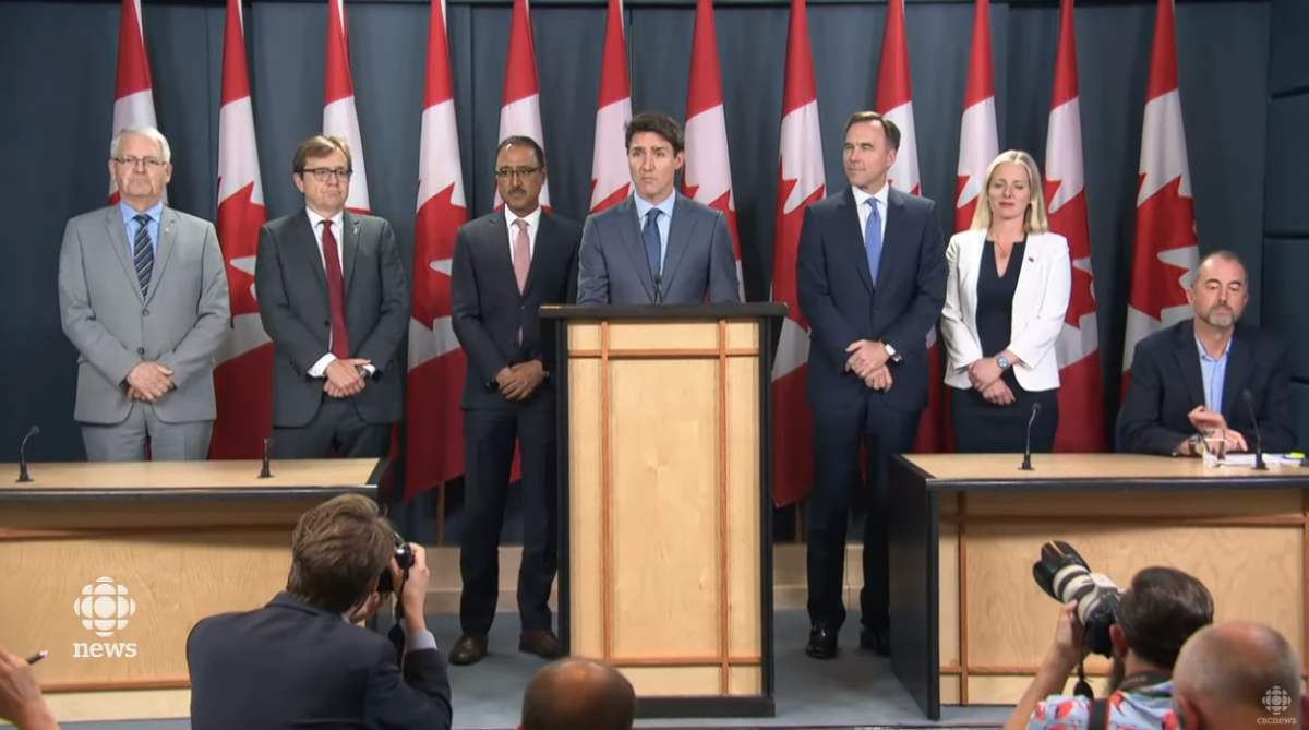 Justin Trudeau was surrounded by a fleet of cabinet ministers when he announced in 2016 that the government had approved Enbridge Line 3 and the Trans Mountain pipeline expansion.