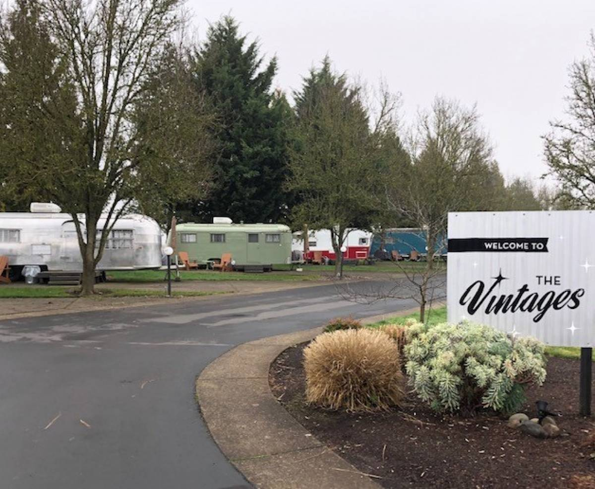 The units at Vintages Trailer Resort come complete with plush bathrobes and pour-over local coffee.