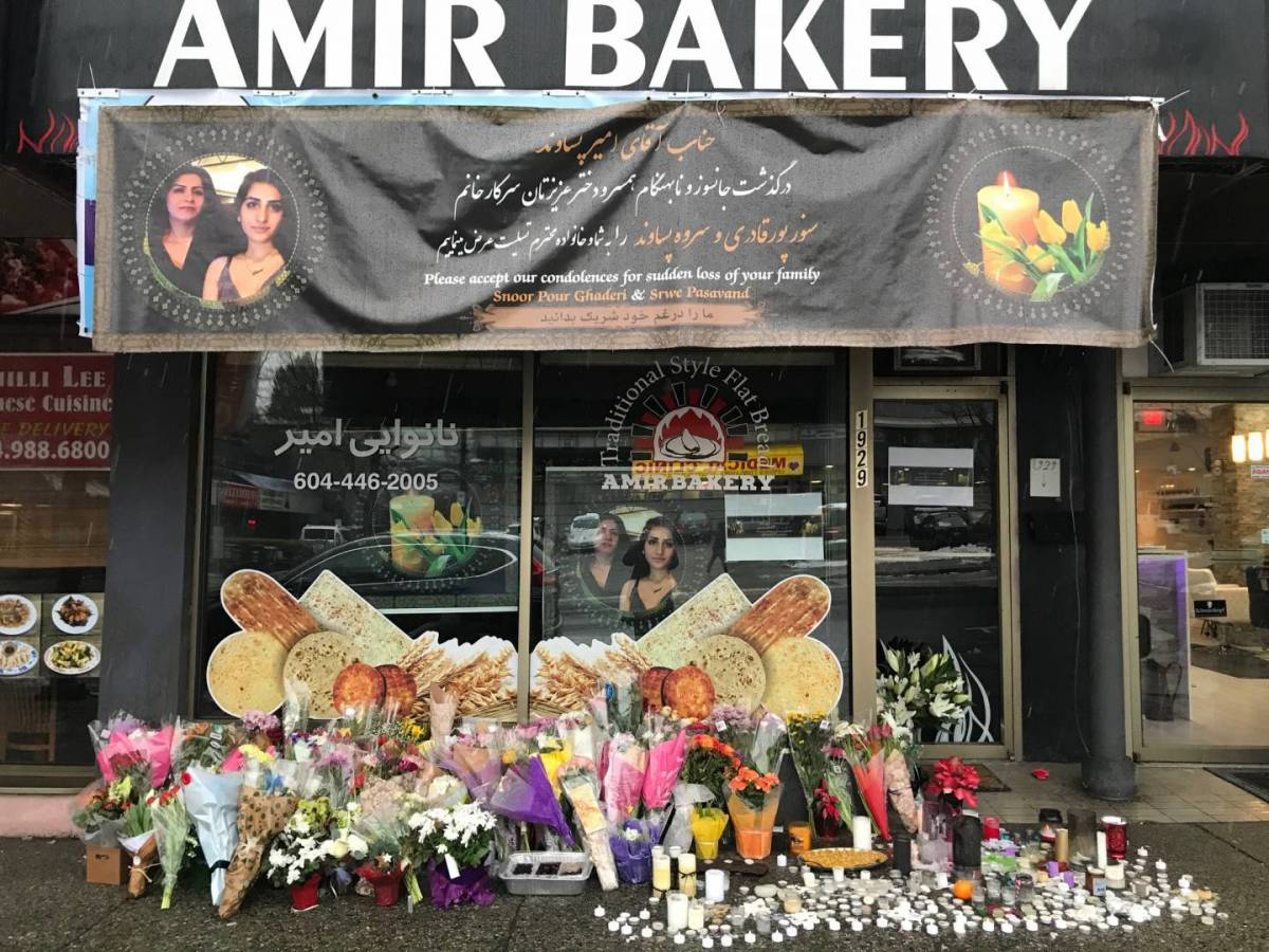 Last year, a shrine was created outside Amir Bakery, whose owner, Amir Pasvand, lost his 36-year-old wife Ayeshe Poughaderi and 17-year-old daughter Fatameh Pasavand when a plane was shot down over Tehran.