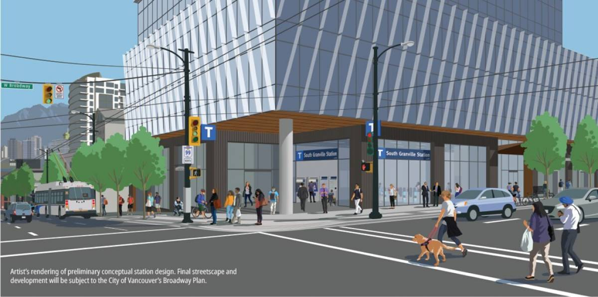 This is an artist's rendering of South Granville Station, which is being built on the northeast corner of Granville Street and West Broadway.