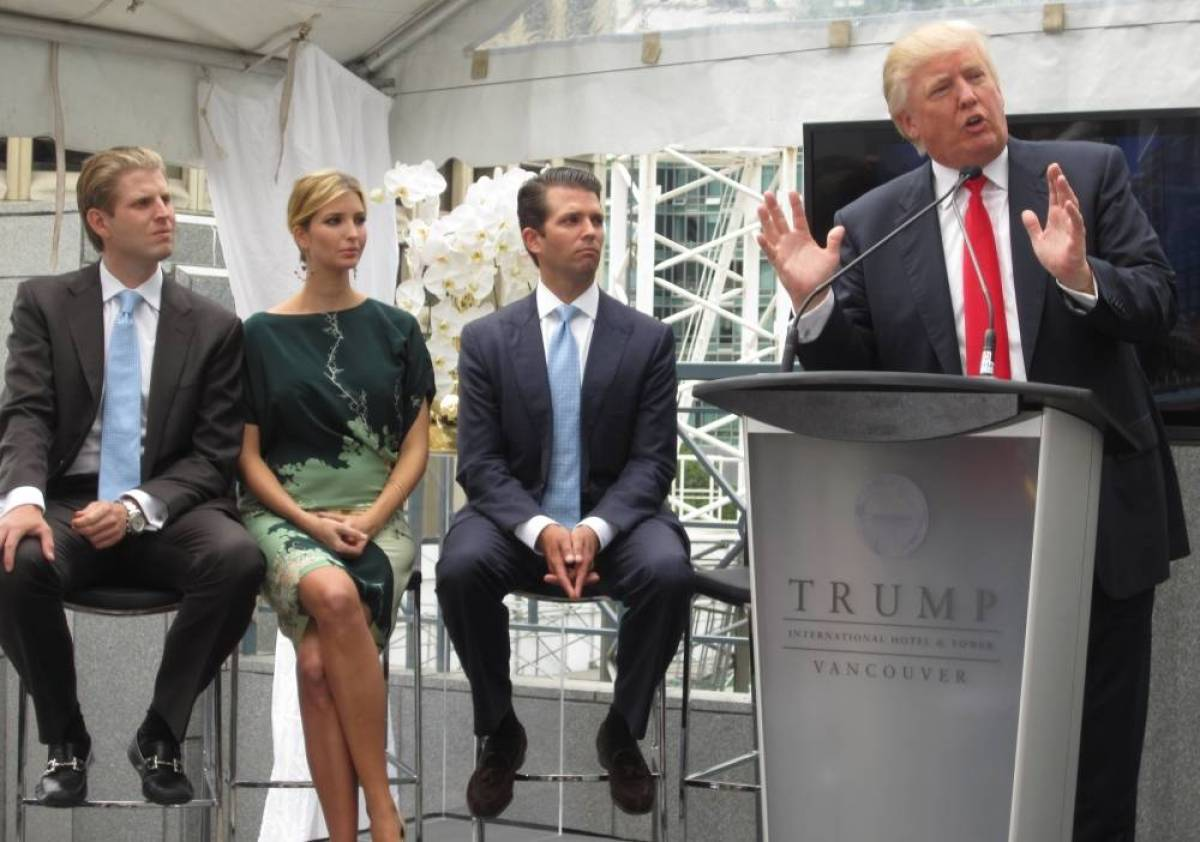 Starting from left, Eric, Ivanka, and Donald Jr. join their father Donald Trump when the family visited Vancouver in 2013.
