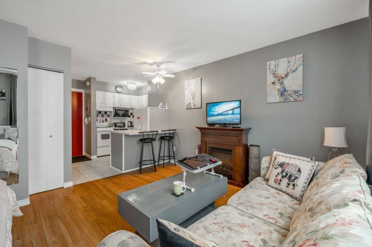 Listed for $305,000, this leasehold condo at 108 1250 Burnaby Street is rented out, with tenant paying $1,600 per month.