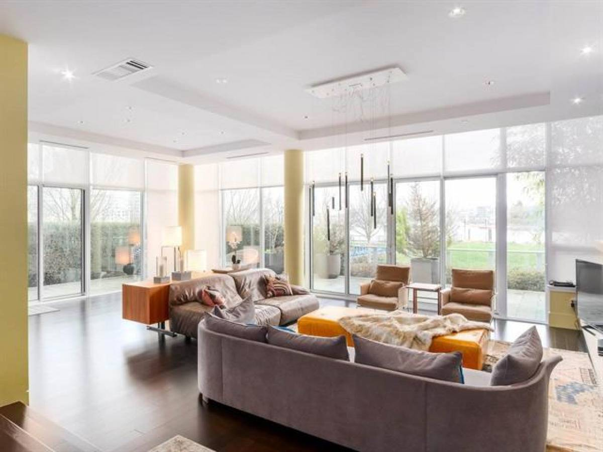 Living room of a Yaletown townhouse at 268 Beach Crescent currently on the market for $6,980,000.
