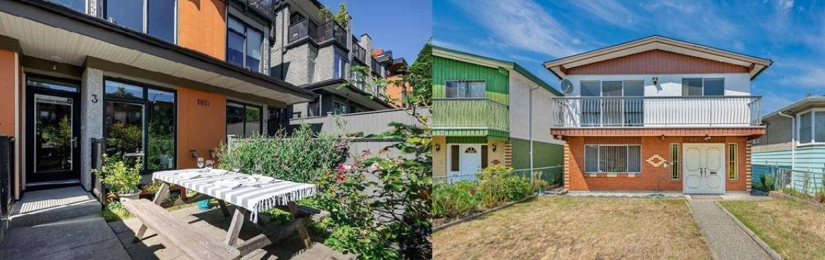 The townhouse (left) at 3-1851 Adanac Street on the east side of Vancouver sold for $1,638,000 on August 4, 2021, and the detached home (right) at 1043 East 58<sup>th</sup> Avenue sold for $1,628,888 on July 27.