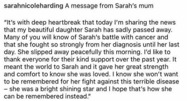 Girls Aloud singer Sarah Harding dies of breast cancer at 39